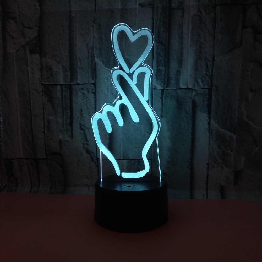 Настольный светильникNew Idea 3D Desk Lamp Рука с сердцем