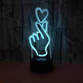 Настольный светильникNew Idea 3D Desk Lamp Рука с сердцем, фото 2