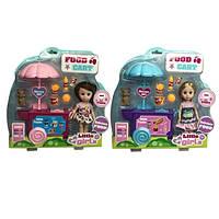 Кукла маленькая 2 вида, тележка, продукты, питомец, акс, в кор.30*31*7см /24-2/ (63022)