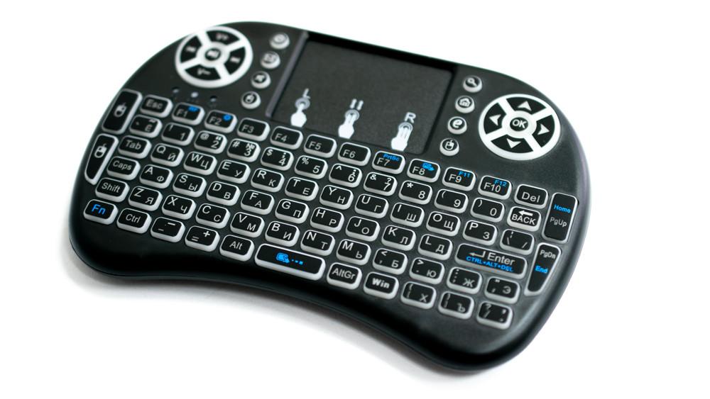 Беспроводная мини клавиатура с подсветкой и тачпадом MWK08/i8 LED, цвет - черный