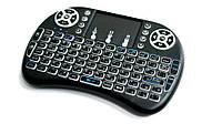 Беспроводная мини клавиатура с подсветкой и тачпадом MWK08/i8 LED, цвет - черный, фото 1