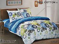 Сатиновое постельное белье семейное ELWAY 5052 «Абстракция»