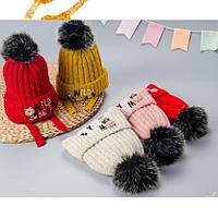Шапка для девочек зимняя с помпоном на завязках