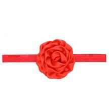 Повязка детская с розочкой красная -  цветок 8см, окружность 36-52см