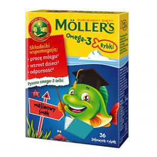 Tran Mollers Omega-3 рыбки, со вкусом малины, 36 шт