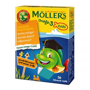 Tran Mollers Omega-3 рыбки, вкус апельсин-лимон, 36 шт