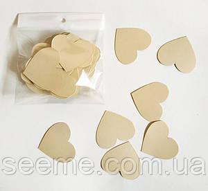 Комплект сердечек, 50 шт, размер 47*45 мм, цвет бежевый