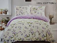 Сатиновое постельное белье семейное ELWAY 5054 «Цветы тюльпаны»