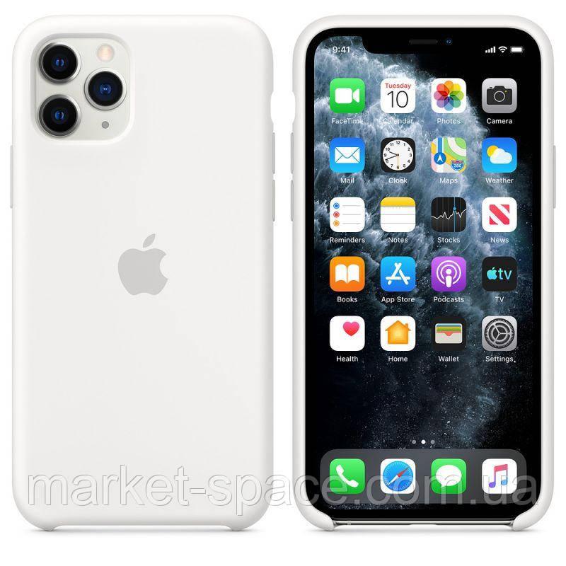 """Чехол силиконовый для iPhone 11 Pro. Apple Silicone Case, цвет """"White"""" (с открытым низом)"""