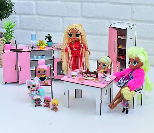 Мебель для кукольного домика Барби NestWood, бело-розовая (КУХНЯ), фото 2