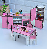 Мебель для кукольного домика Барби NestWood, бело-розовая (КУХНЯ)