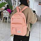 Розовый рюкзак для девочки подростка водонепроницаемый., фото 3