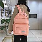 Розовый рюкзак для девочки подростка водонепроницаемый., фото 4