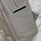 Серый рюкзак однотонный для подростков водонепроницаемый Muqgew(AV207), фото 6