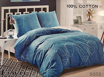Сатиновое постельное белье семейное ELWAY 5055 «Волны»