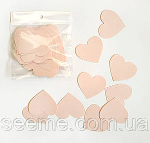 Комплект сердечек, 50 шт, размер 47*45 мм, цвет нежно-персиковый