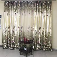 Комплект штор из атласа 2 шт с тюлью, зелёного цвета с цветочками (для спальни, гостиной)
