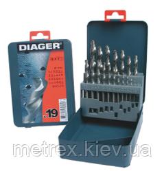 Набір свердел по металу HSS Pro (DIN 338) 19 шт. 1-10, Diager