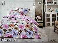 Сатиновое постельное белье семейное ELWAY 5057 «Цветы»
