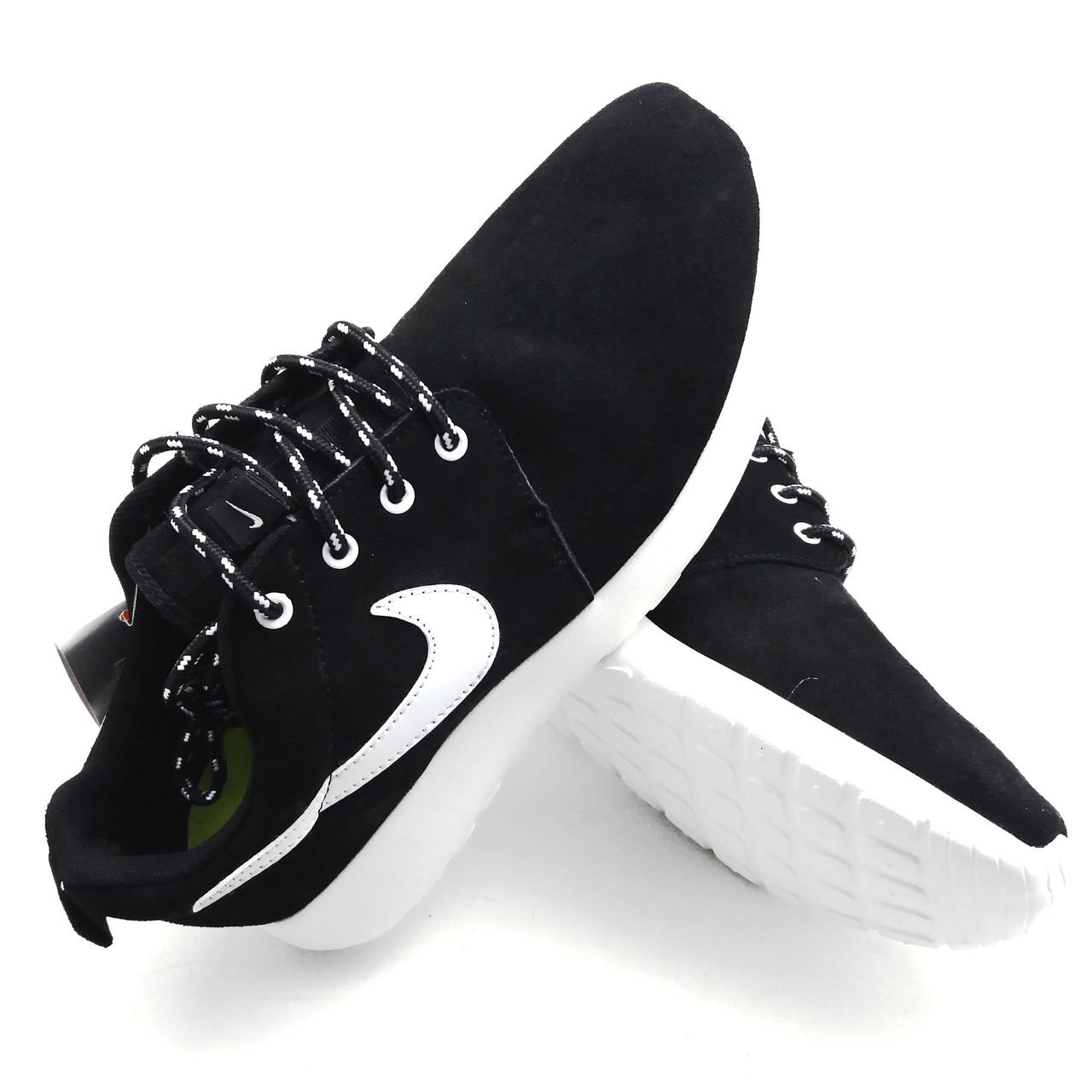 Кроссовки Nike Roshe Run замшевые черные лёгкие удобные подошва пена