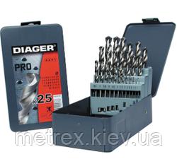 Набір свердел по металу HSS Pro (DIN 338) 25 шт. 1-13, Diager