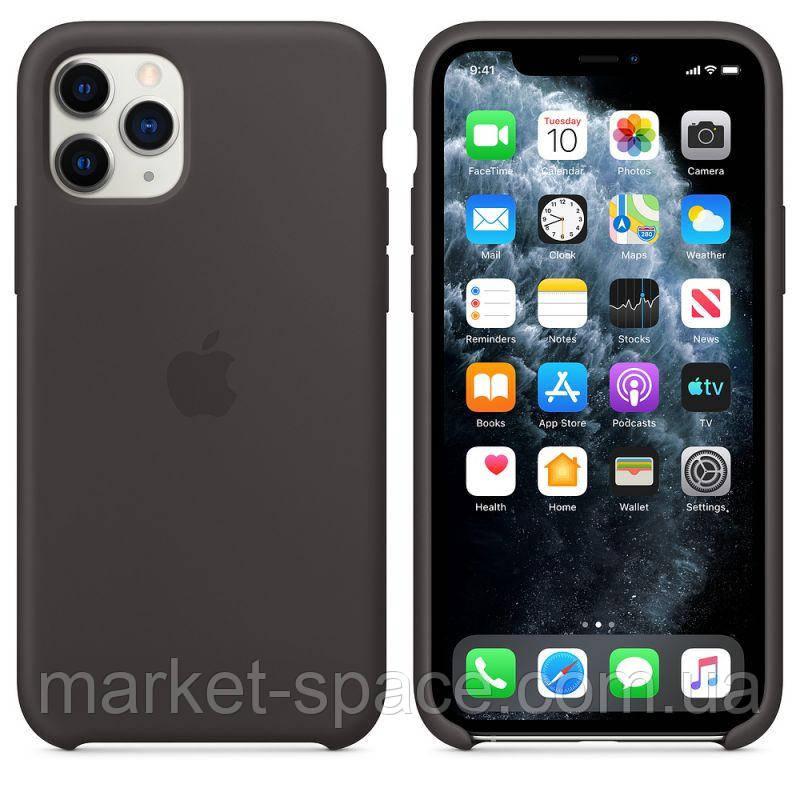 """Чехол силиконовый для iPhone 11 Pro Max. Apple Silicone Case, цвет """"Black"""" (с открытым низом)"""