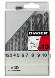 Набір свердел по металу HSS Standard (DIN 338) 10 шт. 1-10, Diager