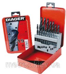 Набір свердел по металу HSS Standard (DIN 338) 19 шт. 1-10, Diager