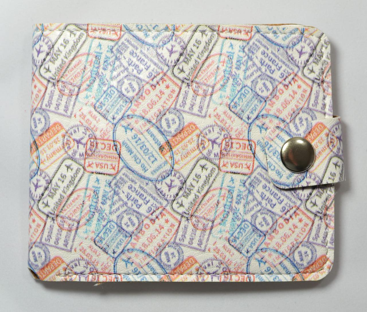 Кошелек из экокожи с принтом + отделение для мелочи + отделение для карт+ кнопка