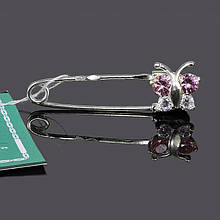 Серебряная булавка шпилька Бабочка цвет розовый 7-5461
