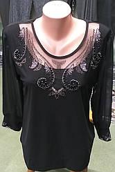 Нарядная женская блузка в чёрном цвете  большого размера