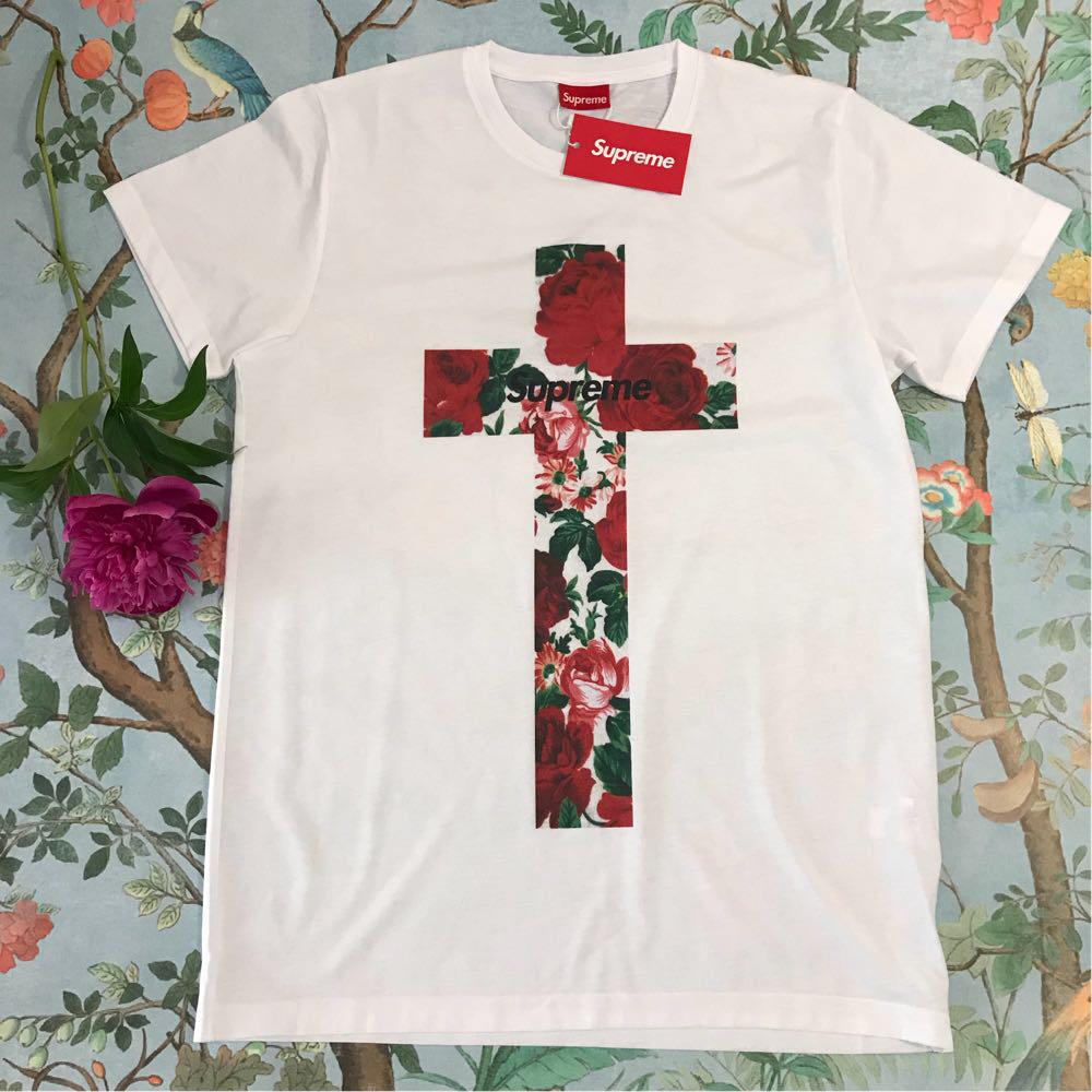 Футболка белая LOYS Supreme Rose cross S