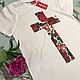 Футболка белая LOYS Supreme Rose cross S, фото 2