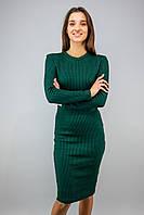 Платье миди с ангоры женское полоска  черно-зеленый цвет бренд VCS
