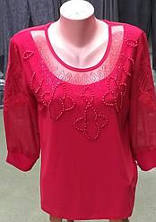 Яркая женская блузка большого размера в красном цвете