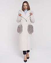 Женское зимнее пальто с капюшономи меховыми карманами рр 44-54