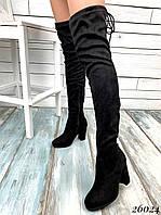 Классические высокие ботфорты на устойчивом каблуке, фото 1