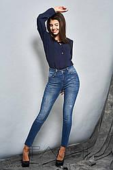 Выбеленные джинсы-скинни женские синие