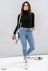 Выбеленные джинсы-скинни женские голубые (размер 34)