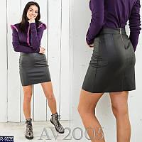 Облегающая кожаная мини юбка арт 0111