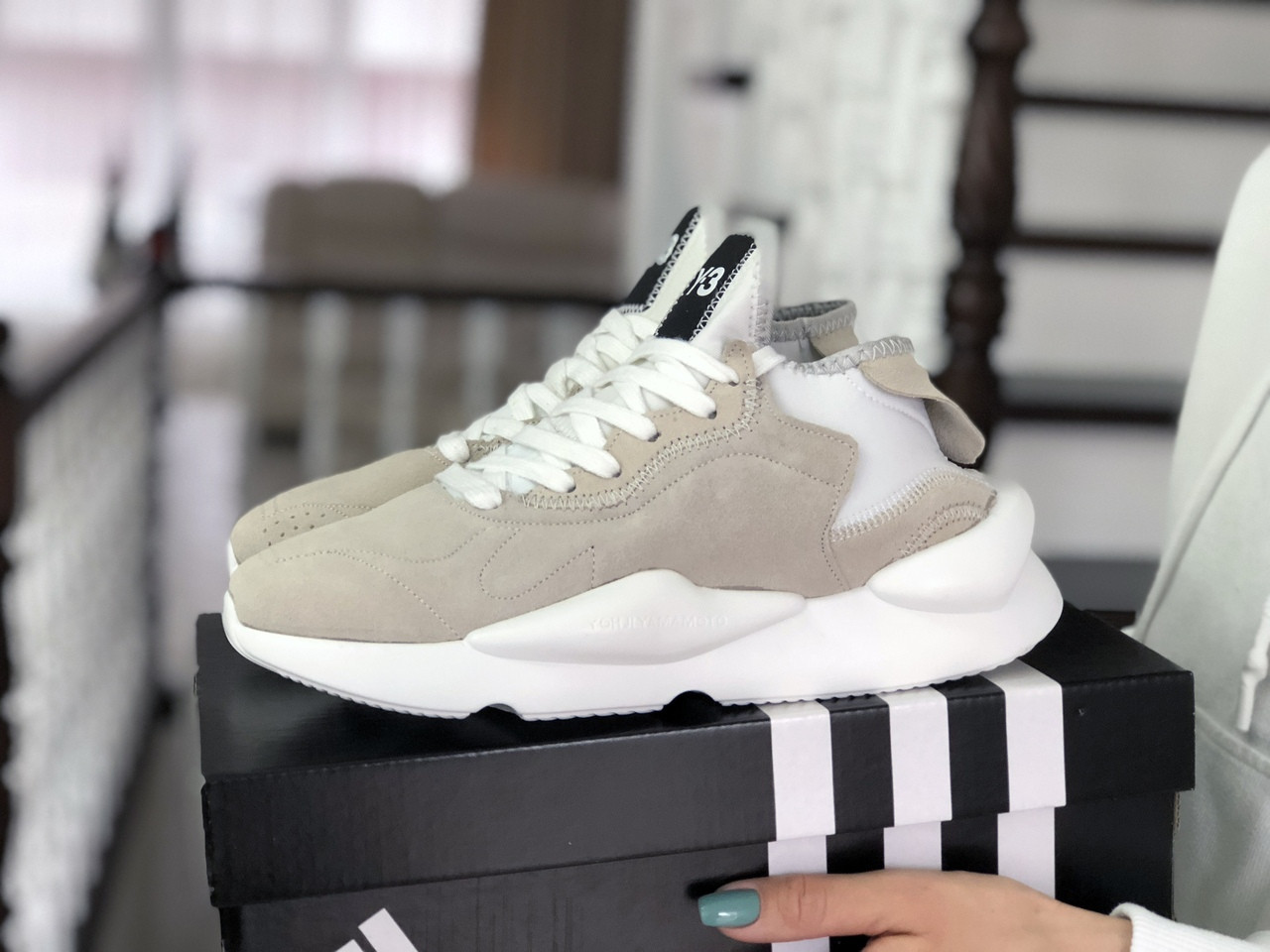 Жіночі кросівки Adidas Y-3 Kaiwa (бежеві)