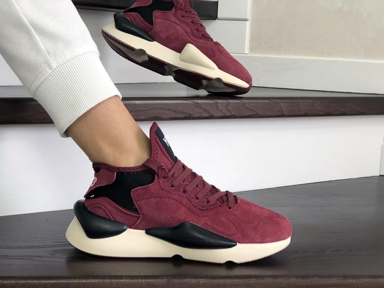 Женские кроссовки Adidas Y-3 Kaiwa (бордовые)