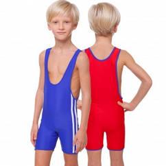 Трико для борьбы и тяжелой атлетики двустороннее подростковое  (бифлекс, М-140 см, красный-синий)