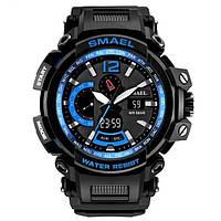 Smael 1702 чорні з синім чоловічі спортивні годинник