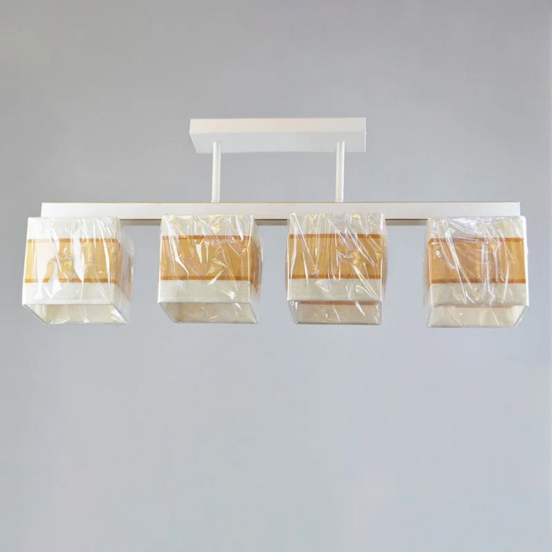 Люстра потолочная на четыре лампы NM-814335/4 WT GD BR белая