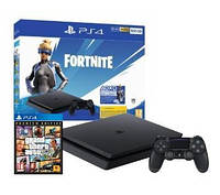 Стаціонарна ігрова приставка SONY PlayStation 4 Slim 500GB + Fortnite  + Grand Theft Auto V