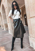 Юбки из кожзама, женские 2020 Черная юбка кожаная / Модные юбки из кожзама, имитация запаха