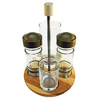 Набор для специй стеклянный на деревянной подставке ТМ EverGlass (4 предмета)