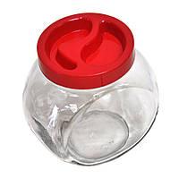 """Банка стеклянная """"Sweet"""" 1,73л ТМ Everglass с пластиковой крышкой красной"""