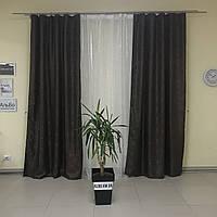 Готовые шторы из жаккарда коричневого цвета и тюль из органзы белого цвета (для спальни, гостиной)